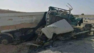 صورة المسيلة/ وفاة شخصين في حادث إصطدام 3شاحنات ببلدية اولاد سيدي براهيم
