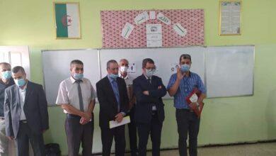 صورة أم البواقي/ والي ولاية ام البواقي يشرف على  انطلاق الامتحانات الرسمية  للطور المتوسط دورة 2021.
